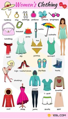 Women's Clothes Vocabulary Clothing Names with Pictures is part of English vocabulary - Women's Clothes Vocabulary! Learn women's clothing names with ESL printable pictures and examples to improve your English, particularly your clothes vocabulary Learning English For Kids, English Lessons For Kids, Kids English, English Language Learning, English Study, Teaching English, Learn English, Learn French, French Lessons