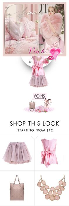 """""""glamorous pink"""" by kriz-nambikatt ❤ liked on Polyvore featuring Olympia Le-Tan, Yanny London, women's clothing, women's fashion, women, female, woman, misses, juniors and yoins"""