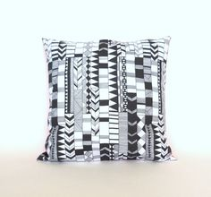 Black and White Geometric Cushion Cover  by GeometricElectric, $25.00