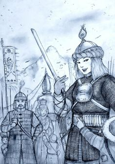 A rough concept drawing of a Medieval Tibetan (U-Tsang) Woman Warrior as part of the Historically Wrong Sketch Series: Medieval Revisited which aims to . Kunggar Ngawang Dawa of Gelupa Bod (Tibet) Goddess Warrior, Warrior Girl, Warrior Women, Ancient History, Art History, Amazon Girl, Concept Draw, The Legend Of Heroes, Oriental