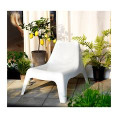 """Width: 29 1/8 """" Depth: 36 1/4 """" Seat width: 21 5/8 """" Seat depth: 19 5/8 """" Seat height: 14 1/8 """" Height: 28 """"  IKEA PS VÅGÖ Armless chair, outdoor   The chair will look fresher and last longer, as the plastic is both fade resistant and UV stabilized to prevent cracking and drying out."""