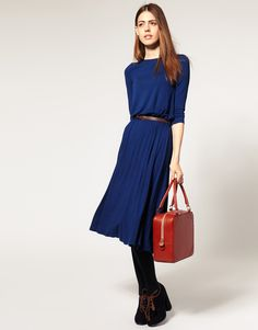 Asos Collection Asos Midi Dress with 3/4 Length Sleeve and Belt in Green