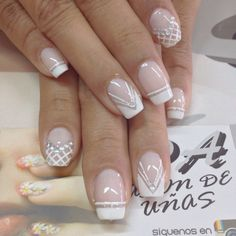 lace manicure with metallic decorative elements, how to decorate nails for the wedding French Nails, Gel French, Fun Nails, Pretty Nails, Nagel Gel, Easy Nail Art, White Nails, Manicure And Pedicure, Wedding Nails