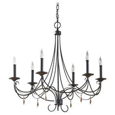 Feiss Aliya 6-Light Rustic Iron 1-Tier Chandelier-F2746/6RI - The Home Depot