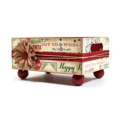 Handmade Christmas decoupage MEDIUM trinket box tray home decor  387   artbysunfire - Housewares on ArtFire @Carla Sadler