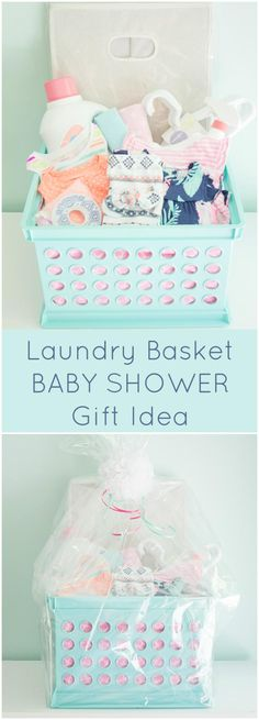 Laundry Basket Baby Shower Gift - 70+ Inexpensive DIY Gift Basket Ideas - DIY Gifts - DIY & Crafts
