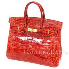 Hermes Birkin 25 cm handbag Sangin'nu × gold metal fittings Crocodile Nirotikasu Shine T engraved HERMES Birkin bag red chalk