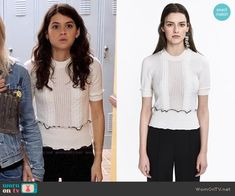 Sabrina's white ruffle trim top on The Mick. Outfit Details: https://wornontv.net/88354/ #TheMick