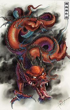 Эскиз злого дракона