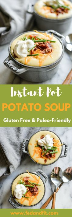 Extra Off Coupon So Cheap This loaded Instant Pot potato soup is easy to make Paleo-friendly totally gluten free and the perfect comforting way to warm up! Healthy Living Recipes, Healthy Soup Recipes, Paleo Meals, Fodmap Recipes, Yummy Recipes, Instant Pot Pressure Cooker, Pressure Cooker Recipes, Pressure Cooking, Slow Cooker