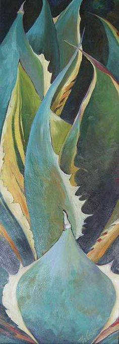 """Agave 12"""" x 36"""", oil on canvas. It's a turquoise theme with a bit of red on all the edges."""