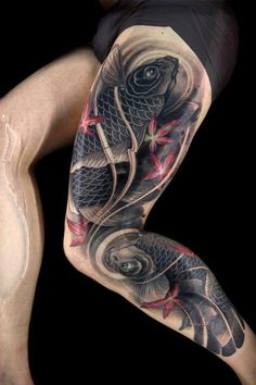 Black Koi fish tattoo on leg - 50 Incredible Leg Tattoos <3 <3