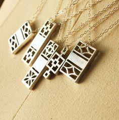 Midcentury Cinder Block inspired necklaces