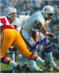"""Featured is a signed Jim Langer Miami Dolphins photograph, which he inscribed """"HOF This item was hand-signed by Langer and comes with a Sports Integrity hologram and certificate of authenticity. Football Memes, Nfl Football, Football Players, Nba Basketball, Baseball, Miami Dolphins Funny, Nfl Miami Dolphins, Nfl Hall Of Fame, Canadian Football"""