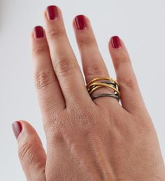 Black and gold eternity wrap ring - infinity wrap ring handmade in Greece