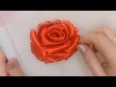 Hướng dẫn thêu ruy băng hoa hồng đỏ đơn giản ribbon embroidery [ NV Ribbon] - YouTube