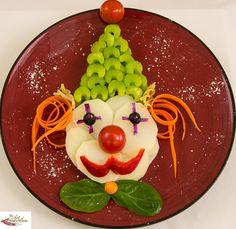 Creative, healthy food art clown