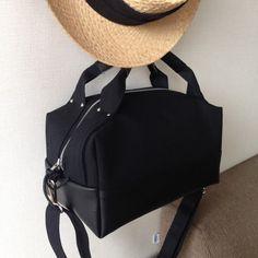 2way キャンバスコロン(MS)ブラック×レザーブラック ショルダーバッグ ihouse bag ハンドメイド通販・販売のCreema