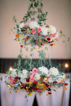 Spring Flower Wedding Chandelier #flower #wedding