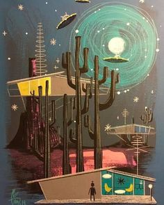 If you've fallen slightly out of love with mid-century style, these mid-century hotels are sure to change your mind and conquer your heart. Arte Sci Fi, Sci Fi Art, Mid Century Modern Art, Mid Century Art, Illustrations, Illustration Art, Vintage Posters, Vintage Art, Retro Futuristic