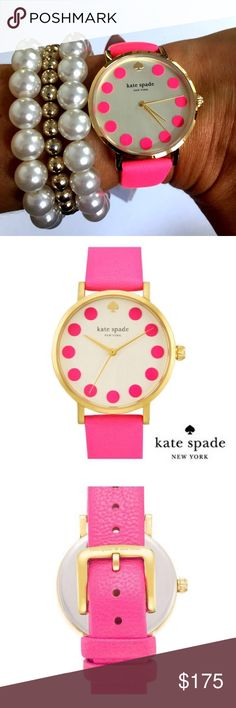 Kate Spade Metro Bazooka Pink Watch NWT and in original box this is the ultimate watch for pink lovers!!! It is stunning in person! Mineral crystal face with 12K gold plaited metal leather and enamel. 34mm Strap width. Water resistance 30 meters and buckle opening and closing. Kate Spade Accessories Watches