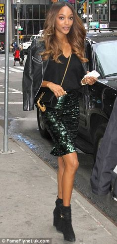 Glamorous start: Jourdan wore a dark green sequined pencil skirt with a leather jacket han. Sequin Pencil Skirt, Jourdan Dunn, Types Of Women, People Dress, Teen Vogue, Skin Tight, Black Ankle Boots, Get Dressed, The Help