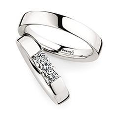 Trauringe Herrenring: Platin, Breite 4,0 mm, Trauringe Damenring: Platin, Breite 4,0 mm, 3 Brillanten 0,3 ct. www.marrying.at