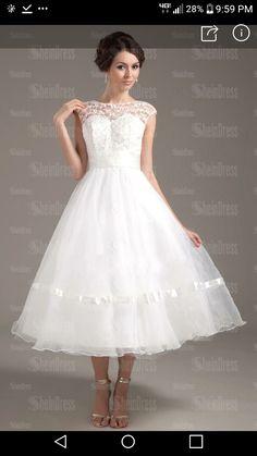 daf643fefd66 Balklänning V-ringning Tea-lång Tyll Bröllopsklänning med Skärpband ...