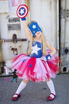 Captain America girls inspired  tutu dress and costume in red blue and white.