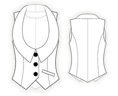 Vest - Naaipatroon #4339 Made-to-measure sewing pattern from Lekala with free online download. Normale pasvorm, Prinsessenlijn, Dichtgeknoopt, U-hals, Reverskraag, Zonder mouwen, Steekzakken
