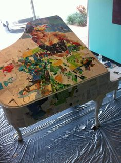 Derek Gores collage for Pop Up Pianos charity event. Paper Collage Art, Paper Art, Derek Gores, Charity Event, Amazing Art, Torn Paper, Orchestra, Artist, Inspiration