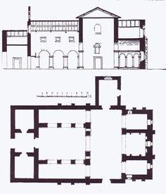 Iglesia de San Julián de los Prados o Santullano. Afueras de Oviedo. Edificio más importante del reinado de Alfonso II. Alzado y Planta.