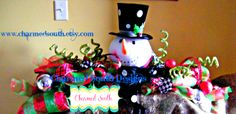 Deco Mesh Snowman Table Center piece  www.facebook.com/charmedsouth