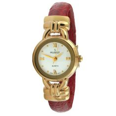 Peugeot Women's 780RD Gold-Tone Red Leather Cuff Watch Peugeot. $41.99. Lifetime manufacturers warranty. Water-resistant to 99 feet (30 M). Genuine leather wrapped cuff. Easy fit flex bangle. Easy to read dial with roman numerals