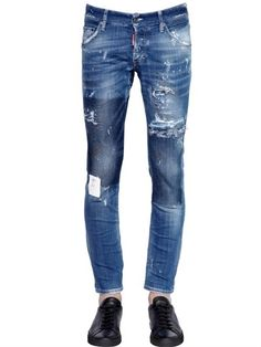 $670, DSQUARED2 165cm Clet Patch Stretch Denim Jeans. Sold by LUISAVIAROMA. Click for more info: https://lookastic.com/men/shop_items/445450/redirect
