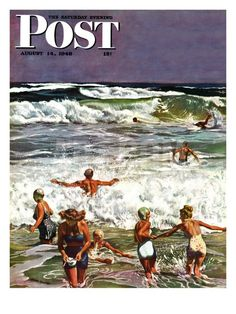 """Surf Swimming,"" Saturday Evening Post Cover, August 14, 1948 | John Falter art"