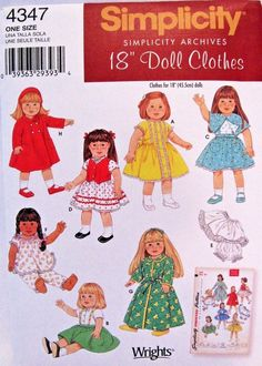 "Simplicity Archives 4347 Retro Doll Clothing Pattern For 18"" Dolls New Uncut #simplicity"