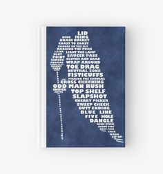"""Hockey Player Terminology Calligram"" Hardcover Journals by gamefacegear 