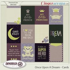 GingerScraps- The Friendliest Place in DigiScrap Land! Let your creativity run wild, while preserving and showcasing your precious memories. Dream Moon, Baby Journal, Prince And Princess, Journal Cards, Scrapbook Cards, Little Things, Bedtime, Sweet Dreams, Digital Scrapbooking