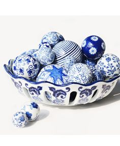 Pack of Five Blue-and-White Hand-painted Ceramic Float Ball