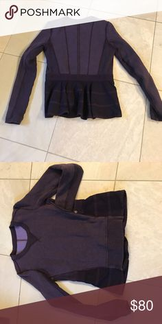 Lululemon ruffle sweatshirt rare Purple lululemon ruffleback sweatshirt zipper vent on both sides, no tags, I believe this is an 8, gorgeous purple color lululemon athletica Tops Sweatshirts & Hoodies