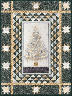"""""""O Tannenbaum"""" quilt designed by Better Off Thread. Features Winter's Grandeur. Fat Quarter Friendly! Winter colorstory. FREE pattern."""