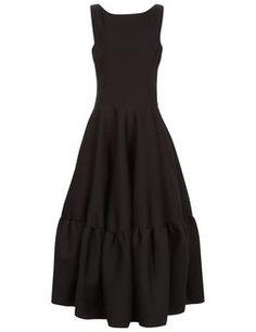 Black Sleeveless Peplum Skirt Dress