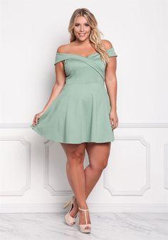 Plus Size Off Shoulder Mid Length Dress Plus Size Chic, Trendy Plus Size Fashion, Curvy Plus Size, Sexy Dresses, Plus Size Dresses, Plus Size Outfits, Pernas Sexy, Curvy Women Fashion, Ladies Fashion