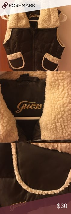GUESS women's brown and cream vest GUESS women's brown and cream vest. Size small. Worn once! Pet and smoke free home! Guess Jackets & Coats Vests