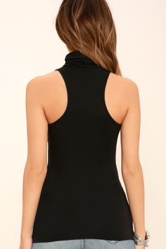 092551f6fd Lulus | Alive and Kicking Black Sleeveless Turtleneck Top | Size Large
