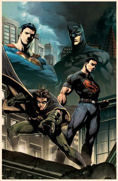 superman and batman with robin and superboy