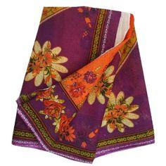 Vintage Style New India Saree Pure Cotton Printed Fabric Decor Floral Orange 5YD: Amazon.co.uk: Kitchen & Home