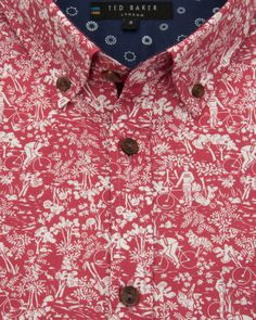Cycle inspired Printed shirt - Red | Shirts | Ted Baker