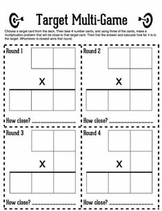 This is a game that helps your kids do two different things at once: first, they can practice multi-digit multiplication x 2 x 2 and 1 x AND, more important than anything else, they can work on their estimation skills. Multiplication Anchor Charts, Math Multiplication Games, Multi Digit Multiplication, Maths, Math Classroom, Classroom Ideas, Fourth Grade Math, Math Strategies, Math Facts